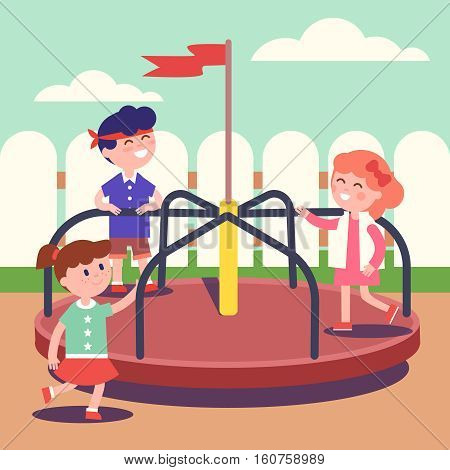 Group of kids playing game on rotating roundabout carousel at the playground. Childhood happiness and smiling faces. Modern flat style vector illustration cartoon clipart.