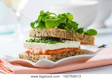 Luxury streetfood. A whole wheat sandwich with feta cheese ans watercress.