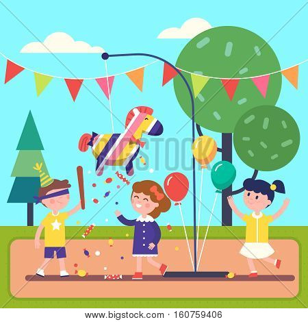 Kids celebrating Posada by breaking a traditional donkey shaped Pinata. Modern flat style vector illustration cartoon clipart.