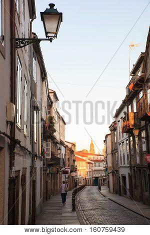 SANTIAGO SPAIN - AUGUST 17: View of Santiago de Compostela on August 17 2016