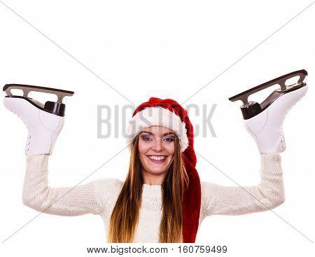 Woman Santa Claus With Ice Skates