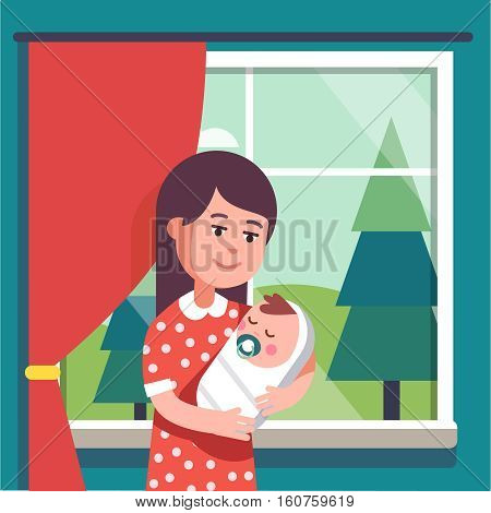 Mother holding swaddled baby boy sucking nipple in her loving hands. Modern flat style vector illustration cartoon clipart.