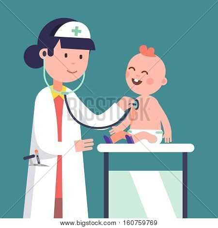 Pediatrician doctor woman doing medical examination of baby boy. Listening to kid heart rate with stethoscope. Modern flat style vector illustration cartoon clipart.