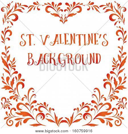 Valentine Holiday Background, Frame of Floral Pattern, Plants Contours. Vector