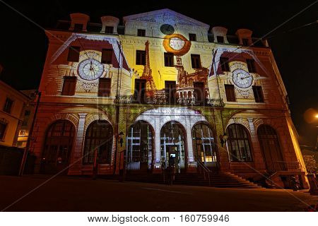 Lyon, France, December 8, 2016 : Lights On Saint Paul Station. The Festival Of Lights Expresses Grat