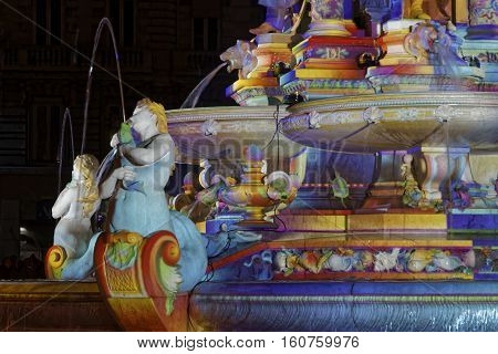 Lyon, France, December 8, 2016 : Lights On The Fountain Of Jacobins. The Festival Of Lights Expresse