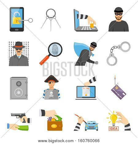 Theft icons set of information idea property money stealing in flat style isolated vector illustration