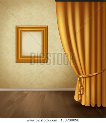Classical curtain interior with frame wall wooden floor plinth in realistic style vector illustration