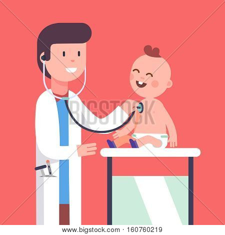 Pediatrician doctor examining little baby boy doing his health checkup. Listening to his heart beat and lungs with stethoscope. Modern flat style vector illustration cartoon clipart.