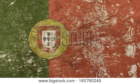 Old Grunge Vintage Faded Flag Of Portugal