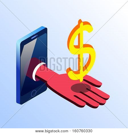 Isometric vector smartphone showing hand with golden dollar sign. 3d stock illustration