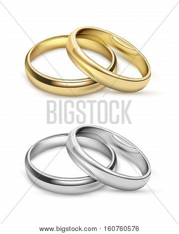 Symbolic wedding objects with gold and silver metal rings in realistic style isolated vector illustration