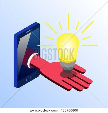 Isometric vector smartphone showing hand with a glowing light bulb. 3d stock illustration