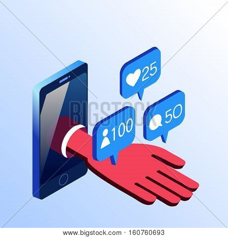Isometric vector smartphone showing hand with social networks notifications. 3d stock illustration