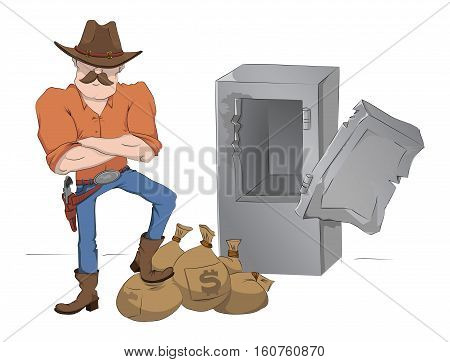 Safecracker with gun and money on a white background. Vector illustration. Crime. Bank robbery.