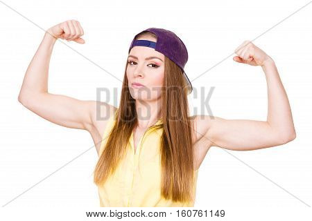 Woman Casual Style Showing Off Muscles Biceps