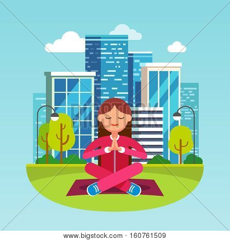 Young woman meditating in contemplation sitting on the grass in lotus yoga pose at the big city park. Girls hands are folded in peaceful namaste gesture. Flat style character vector illustration.