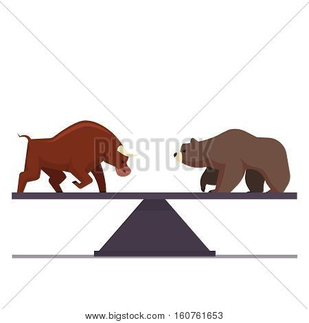 Stock market bulls and bears battle metaphor. Stock exchange trading business concept. Market equilibrium. Modern fat style vector illustration.