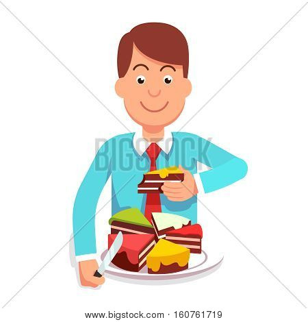 Corporate businessman or government clerk eating market shares pie segment of metaphoric cake chart. Corporation takeover or governmental regulation concept. Flat style vector character illustration.