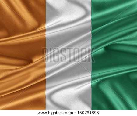 Cote d'Ivoire flag. Flag with a beautiful glossy silk texture. 3D illustration.