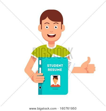 Future student holding and showing his resume and submission papers folder. Guy with smiling face making thumb up gesture. Flat style vector character illustration.