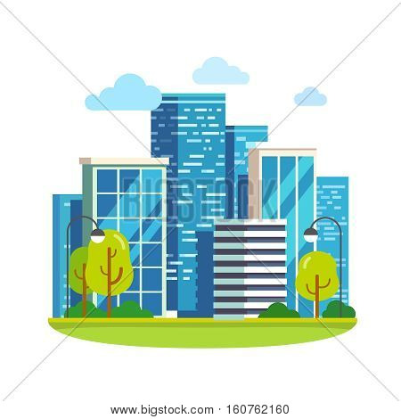 Minimalist city downtown landscape with skyscrapers. Flat style vector illustration.