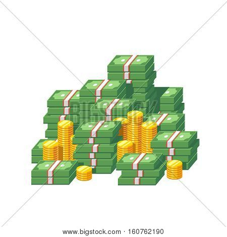 Huge money pile. Stacked packs of dollar bills and gold coins. Minimal style flat vector illustration icon.