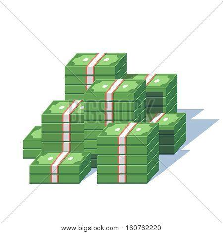 Money pile. Stacked packs of dollar bills. Minimal style flat vector illustration.