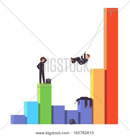 Businessman climbing up on a rope to a bar graph chart crossing startup death valley or economic decline and financial crisis. Competitor is dead. Business risks concept. Flat vector illustration.