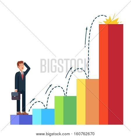 Business man planning his career growth with dotted line. Standing in the beginning of bar chart graph on the first column and looking ahead toward success. Flat style vector illustration.