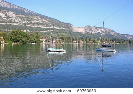 Yachts moored on Lake Annecy in France