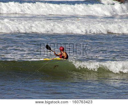 SAN DIEGO,CA - NOVEMBER 14:Unkown kayaker of rowing of Pacifik ocean in San Diego,California,America on November 14,2016.