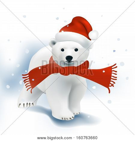 Polar Bear cub with Santa hat and red scarf walking in the snowfall.Vector illustration on white background.