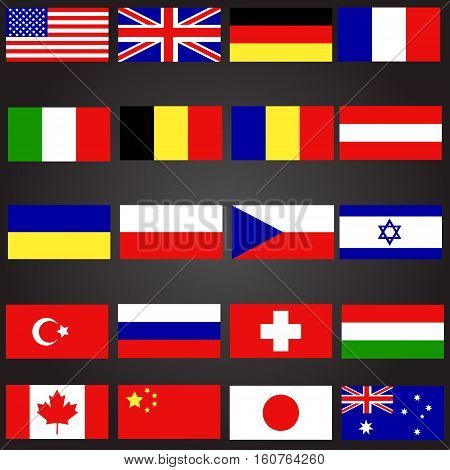 Twenty flags set language button flat icon