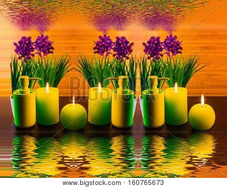 Abstract spa concept with flower candle water spa product and reflection