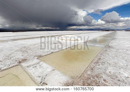 Salt lake of Salinas Grandes on argentina andes