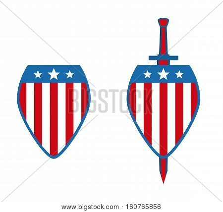 Vector illustration with a shield and a sword.Patriot Day.illustration for the American day of the patriot, a banner, the leaflet, an element of design of the website.