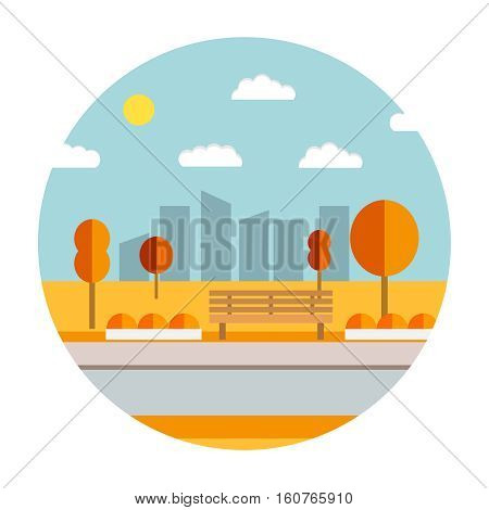 Flat illustration with the image of park with a bench and trees.  Natural landscape in the flat style.Autumn landscape of the city park