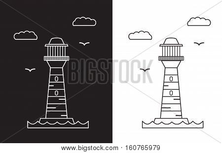 Vector an illustration with a beacon on a white and black background flat. Line style  template with lighthouse.Isolated on background.Lighthouse  icon on horizon.