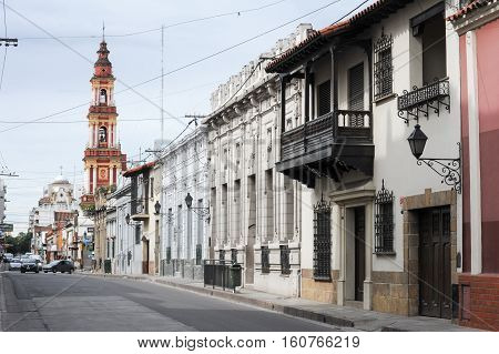 Colonial houses and church of San Francisco at Salta on northen Argentina