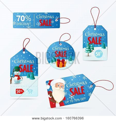 Vector set of tags for Christmas sale. Vector layout for promotion with Snowman, Santa Claus, gift in the winter scene. Isolated from the background.