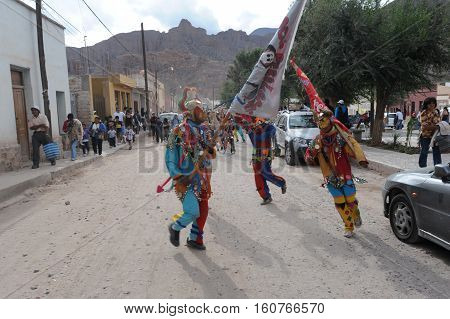 Humahuaca, Argentina - 29 January 2011: Indios dancing on the celebration of carnival at Tilcara on Argentina andes