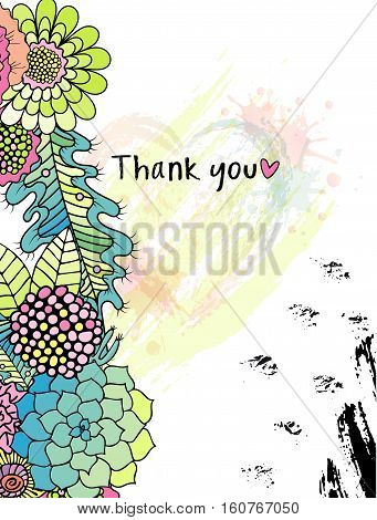 Vector Floral Thank you card with colorful stylised flowers in a wreath, and black ink circle texture. Perfect for wedding, greeting or invitation design