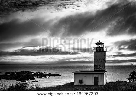 Quaco Head lighthouse in Saint Martin, New Brunswick, Canada
