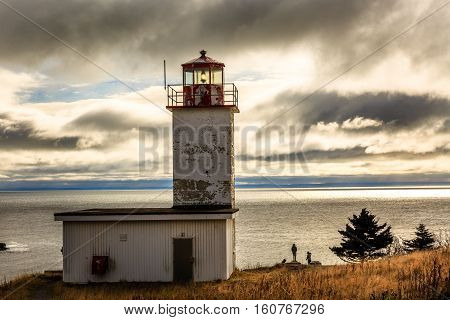 Quaco Head lighthouse in Saint Martin, New Brunswick, Canada