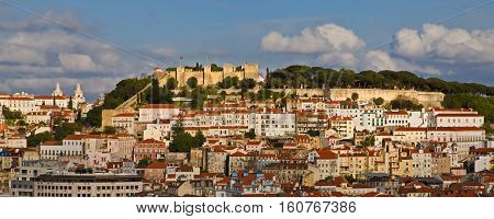Sao Jorge castle on hilltop of Lisbon, Portugal.