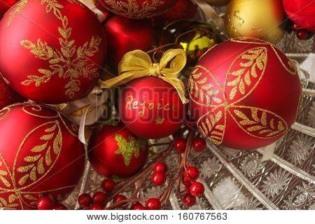 Decorative Christmas Balls, Rejoice Centered