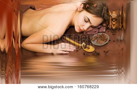 Beautiful woman in spa salon having chocolate therapy procedure with coffee seeds cinnamon sticks star anise