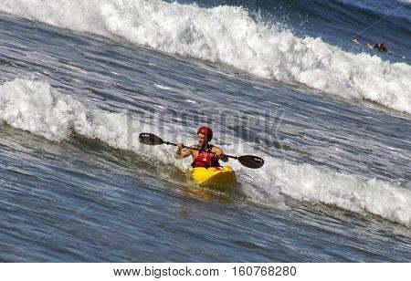 SAN DIEGO,CA - NOVEMBER 14:Unknown kayaker of rowing of Pacifik ocean in San Diego,California,America on November 14,2016.