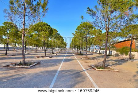 bicycle race next to the Faliro Sports Pavilion Arena - part of the Faliro Coastal Zone Olympic Complex Athens Greece